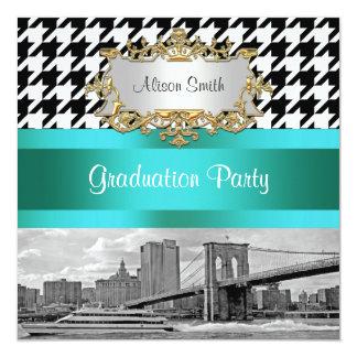 Brooklyn Bridge Blk Wht Houndstooth 2 Graduation Card