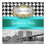 Brooklyn Bridge Blk Wht Houndstooth 2 Graduation 5.25x5.25 Square Paper Invitation Card