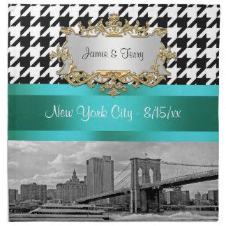 Brooklyn Bridge Blk Wht Houndstooth 2 Napkins