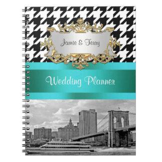 Brooklyn Bridge Blk Wht Houndstooth 2 Notebook