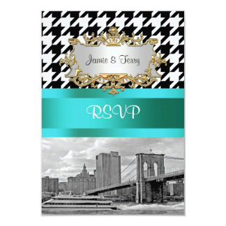 Brooklyn Bridge Blk Wht Houndstooth 2 RSVP 1 Card