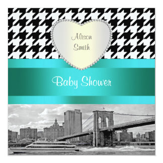 Brooklyn Bridge Blk Wht Houndstooth 2H Baby Shower Card