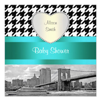 Brooklyn Bridge Blk Wht Houndstooth 2H Baby Shower Personalized Invitations