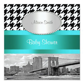 Brooklyn Bridge Blk Wht Houndstooth 2P Baby Shower Card