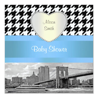 Brooklyn Bridge Blk Wht Houndstooth 3H Baby Shower Card
