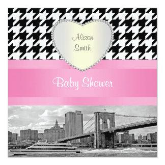 Brooklyn Bridge Blk Wht Houndstooth 4H Baby Shower Card
