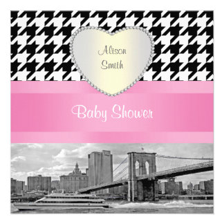 Brooklyn Bridge Blk Wht Houndstooth 4H Baby Shower Personalized Invitation