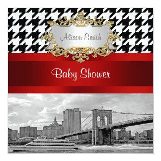 Brooklyn Bridge Blk Wht Houndstooth Baby Shower Card