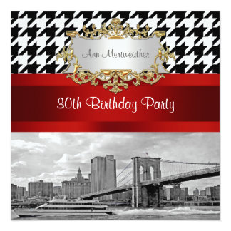 Brooklyn Bridge Blk Wht Houndstooth Birthday Party Card