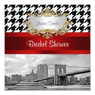 Brooklyn Bridge Blk Wht Houndstooth Bridal Shower Card