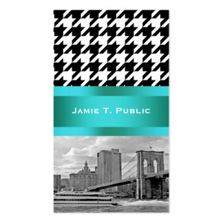 Brooklyn Bridge Blk Wht Houndstooth Business Cards