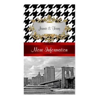 Brooklyn Bridge Blk Wht Houndstooth Enclosure Card Double-Sided Standard Business Cards (Pack Of 100)