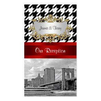 Brooklyn Bridge Blk Wht Houndstooth Escort Cards Double-Sided Standard Business Cards (Pack Of 100)