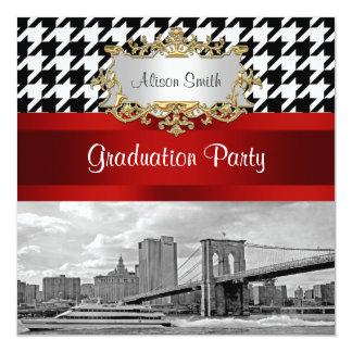 Brooklyn Bridge Blk Wht Houndstooth Graduation Card