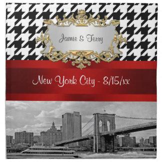 Brooklyn Bridge Blk Wht Houndstooth Napkins