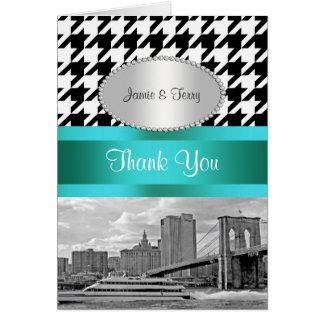 Brooklyn Bridge Blk Wht Houndstooth P Thank You Card