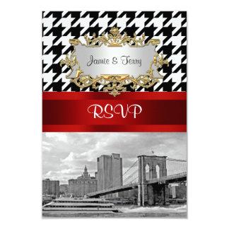 Brooklyn Bridge Blk Wht Houndstooth RSVP 1 Card