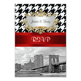 Brooklyn Bridge Blk Wht Houndstooth RSVP 1 Personalized Invitations