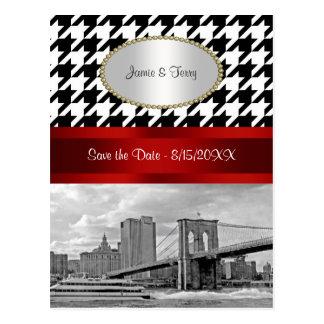 Brooklyn Bridge Blk Wht Houndstooth Save Date 2 Postcard