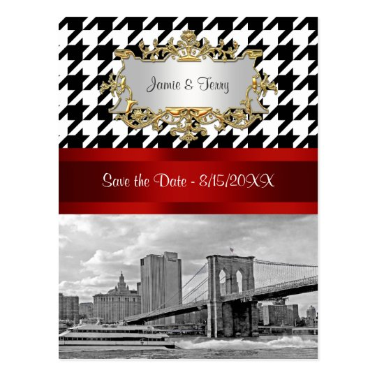 Brooklyn Bridge Blk Wht Houndstooth Save the Date Postcard