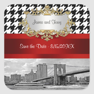 Brooklyn Bridge Blk Wht Houndstooth Save the Date Square Sticker