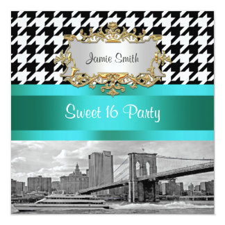 Brooklyn Bridge Blk Wht Houndstooth Sweet 16 Party Card