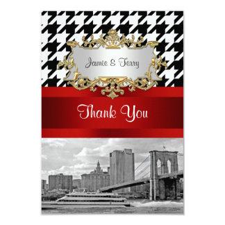 Brooklyn Bridge Blk Wht Houndstooth Thank You Card
