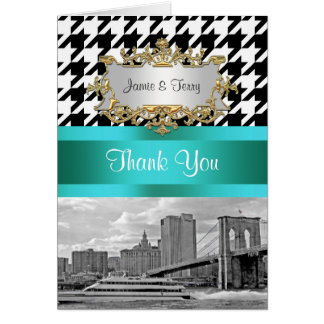Brooklyn Bridge Blk Wht Houndstooth Thank You Note Card