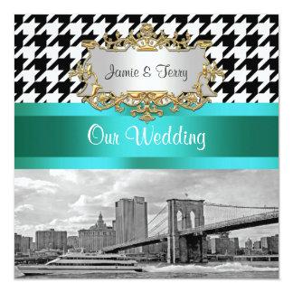 Brooklyn Bridge Blk Wht Red Houndstooth 2 Wedding Card