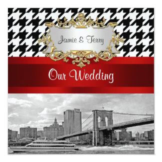 Brooklyn Bridge Blk Wht Red Houndstooth Wedding Card