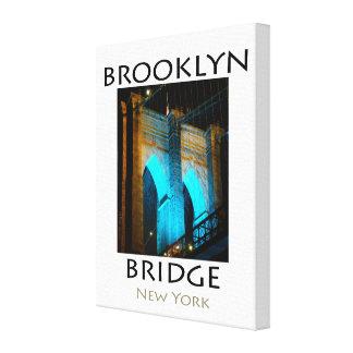 Brooklyn Bridge Blue LED Lights Canvas Print