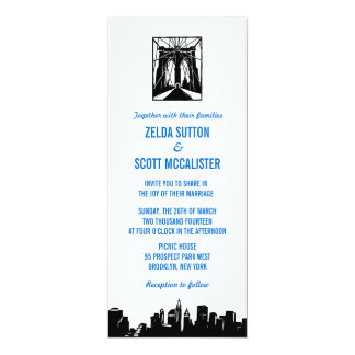 Brooklyn Bridge Blue   Wedding Invitation