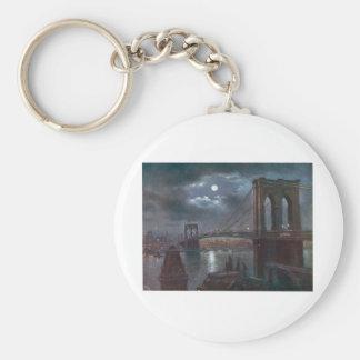 Brooklyn Bridge by Moonlight Basic Round Button Keychain