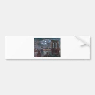 Brooklyn Bridge by Moonlight Car Bumper Sticker