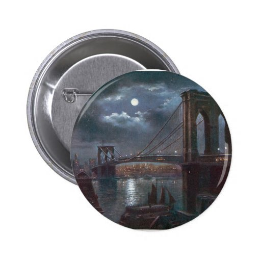 Brooklyn Bridge by Moonlight Button