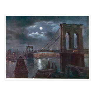 Brooklyn Bridge by Moonlight Postcard