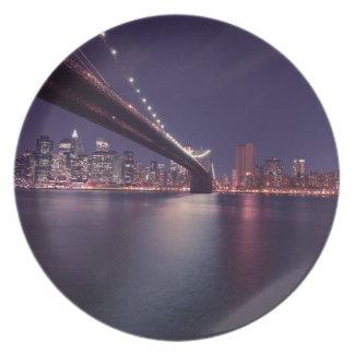Brooklyn bridge by Night Party Plate