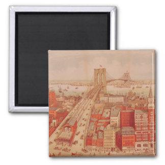 Brooklyn Bridge, c.1883 2 Inch Square Magnet