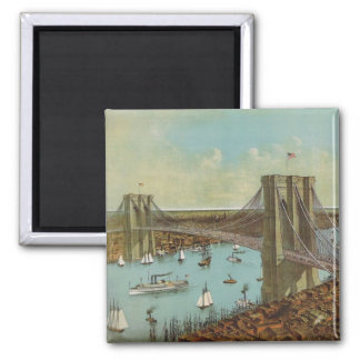 Brooklyn Bridge Color Postcard 2 Inch Square Magnet