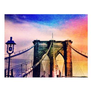 Brooklyn Bridge - Colorful - New York City Postcard