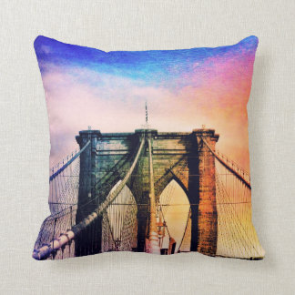 Brooklyn Bridge - Colorful - New York City Throw Pillow