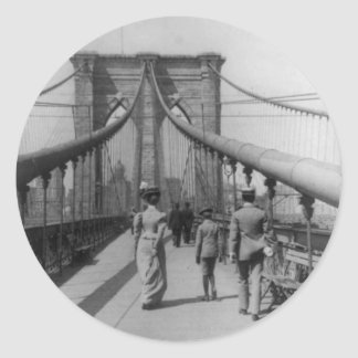 Brooklyn Bridge Crossing Classic Round Sticker