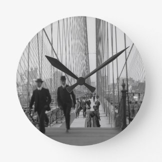 Brooklyn Bridge Crossing Round Clock