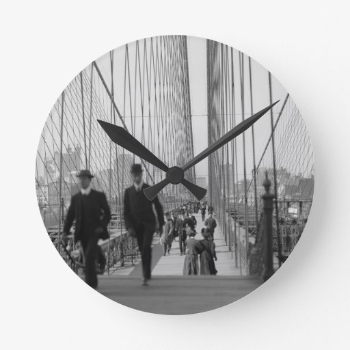 Brooklyn Bridge Crossing Round Wallclocks
