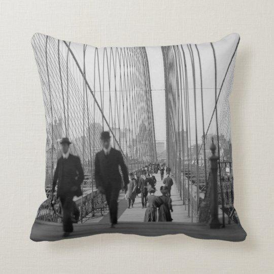 Brooklyn Bridge Crossing Throw Pillow