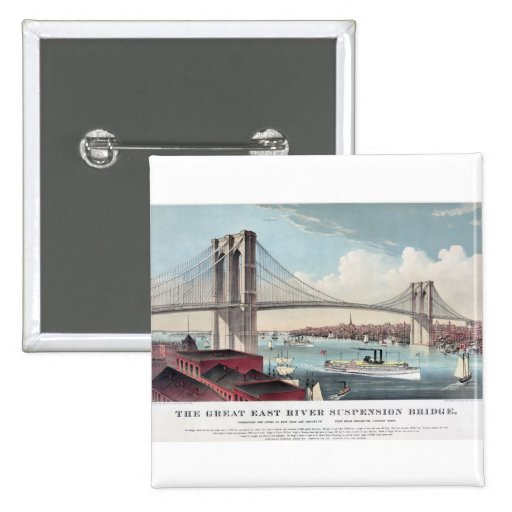 Brooklyn Bridge Currier and Ives Vintage Print 2 Inch Square Button