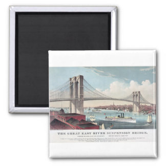 Brooklyn Bridge Currier and Ives Vintage Print 2 Inch Square Magnet