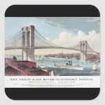 Brooklyn Bridge Currier and Ives Vintage Print Square Stickers