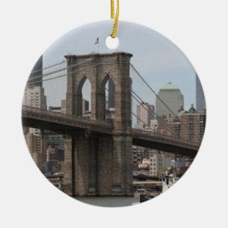 Brooklyn Bridge Double-Sided Ceramic Round Christmas Ornament