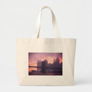 Brooklyn Bridge During Snowstorm Canvas Bags